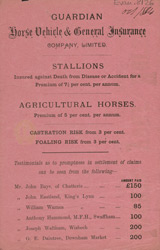 Advert for the Guardian Horse Vehicle & General Insurance Company Ltd